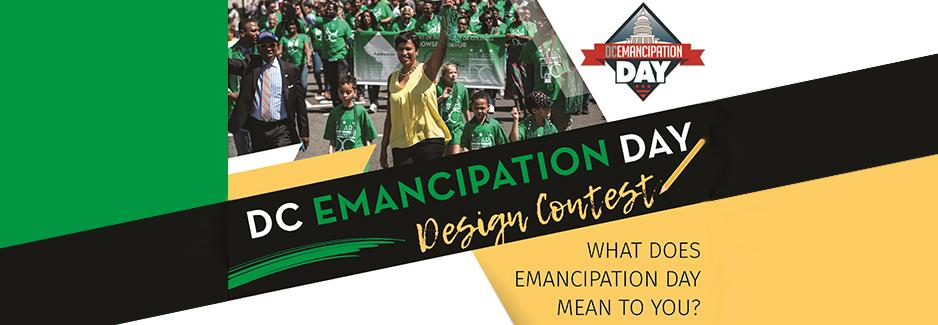 """DC Emancipation Day Design Contest"" with photo of Mayor Bowser at a parade"